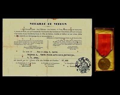 WWI French Verdun Medal w/ Box & Certificate awarded to US Army Arty Soldier
