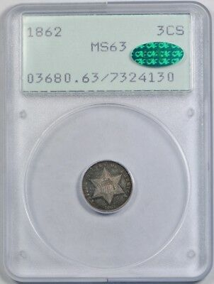 1862 3CS Three Cent Silver PCGS MS 63 Uncirculated Rattler CAC Approved