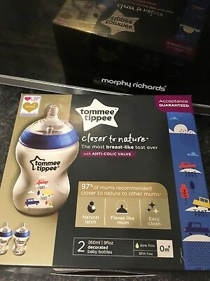 Tommee Tippee Bottles New In Box Anti-collic Valve Toot Toot Design