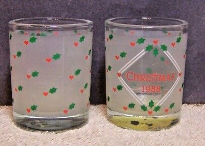 Pretty Pair of 1988 Christmas VOTIVE CUPS