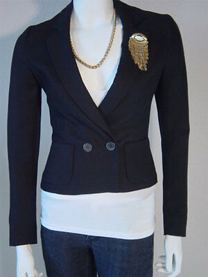 GENNY Black Textured Rayon Mother of Pearl Buttons Blazer size 40