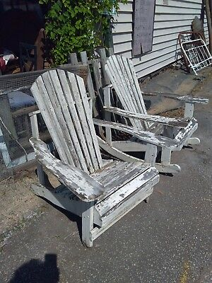 Vintage Rustic Adirondack Straight Chair Chippy Paint Sturdy