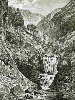 Edwin Landseer WATERFALL DOWN the MOUNTAIN 1870 Antique Engraving Print Matted
