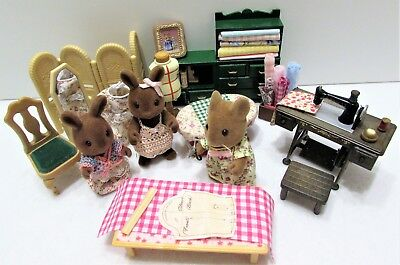 Sylvanian OOAK Vintage Sewing Room Furniture Figures & New Hand Made Additions