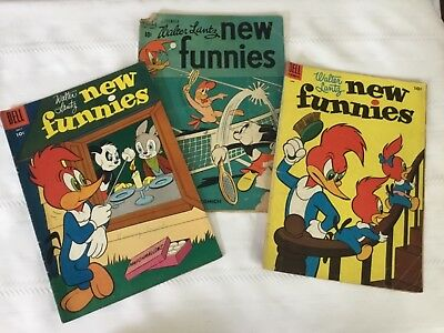 Lot of 3 1950's Dell Walter Lantz NEW FUNNIES comic books June July Sept.  (P81)