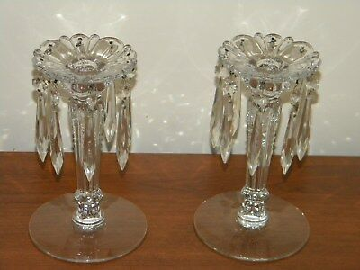 "Vintage chandalier type glass candlesticks 8"" tall"