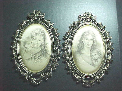 Vintage Antique Ornate Brass Frames With Satin Prints Of Mother And Child