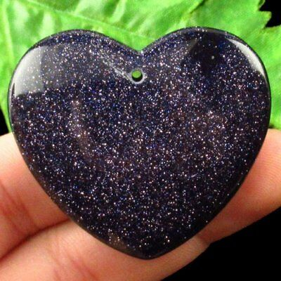 F88942 Blue Sand Stone Heart Pendant Bead 40x45x6mm