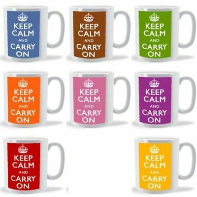 Personalised Keep Calm Mug - Cup - Any Name Or Any Message - Choice Of Colours