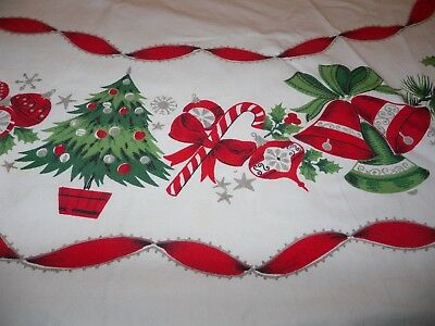 Vintage Mid-Century Christmas Tablecloth candy cane bells trees ornaments ribbon