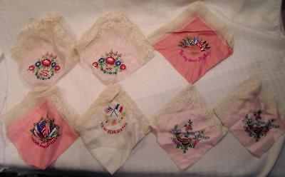 World War 1 WW 1 American Doughboy France Souvenirs 7 silk Handkerchiefs