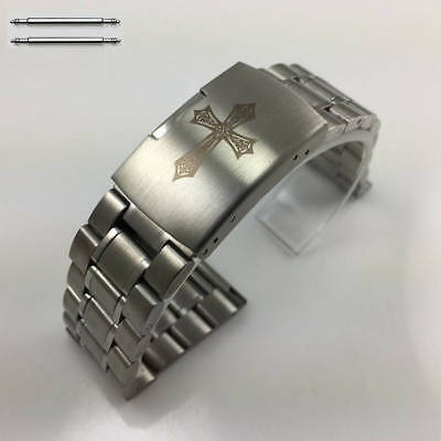 Stainless Steel Bracelet Replacement Watch Band Strap With Engraved Cross #5015