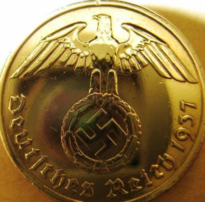 Nazi German 10 Reichspfennig 1937 Gold Coloured Coin Third Reich Eagle Swastika