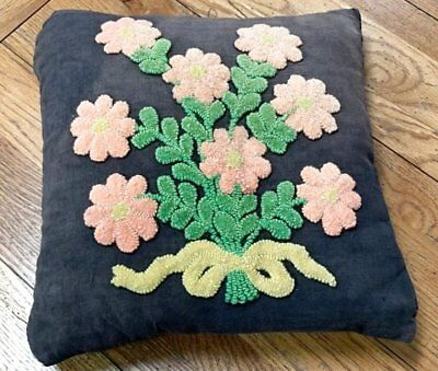 Farmhouse PA Amish Mennonite Vintage PUNCH Embroidery PILLOW Lancaster Co