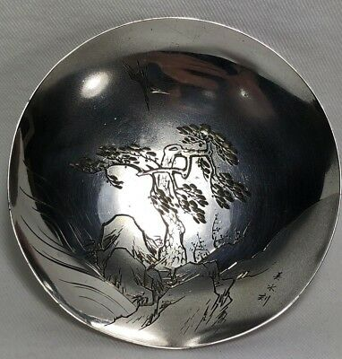 Gorgeous Japanese Pure Silver & Gold Large Sake Cup Engraved Crane Tree SIGNED