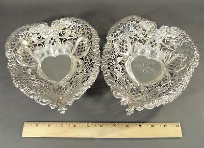 Pair Large Antique GORHAM Sterling Silver Valentine Heart Candy Dish Nut Bowls