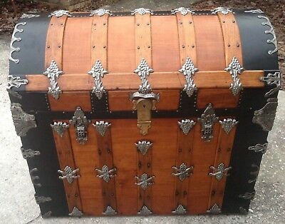 Exquisite Antique Dome Top Trunk, One-of-a-Kind Interior, Amazing Detail