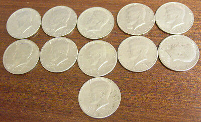 Lot of 11 Kennedy Half Dollars - Circulated, Clean. 1971 through 1974