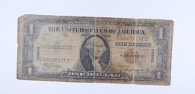 Tough - Military Occupation 1935 $1.00 Hawaii Overprint WWII US Currency *987