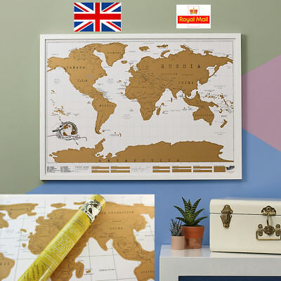 Scratch Off World Map Deluxe Edition Travel Log Journal Poster WallDecor 88*52cm
