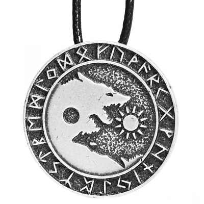 Paw House Mens Norse Wolf Head Necklace Pendant for Dog Lover Men Viking Arrow H