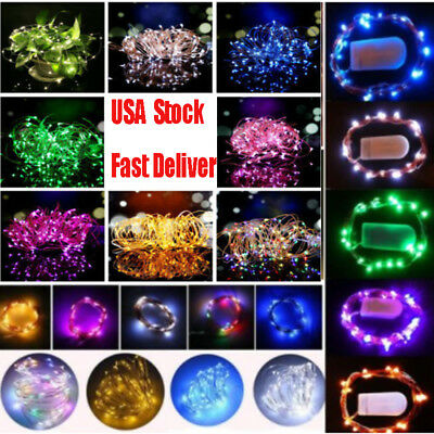 Fairy String Lights 10/20/30 LED Battery Micro Rice Wire Copper Party Warm white