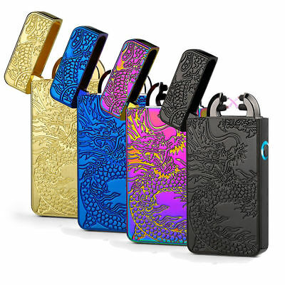 USB Electric Rechargeable Dual Arc Flameless Windproof Lighter New in Box
