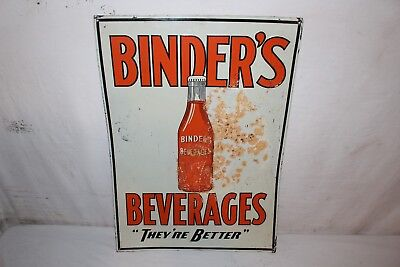 "Vintage 1930's Binder's Orange Soda Pop Gas Station 28"" Embossed Metal Sign"