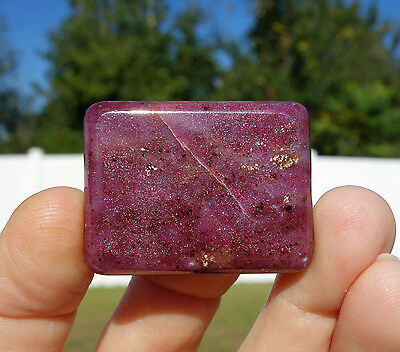 Pure Red Ruby Pocket Palmstone Pillow Crystal Cabochon Pendant Wirewrap Stone