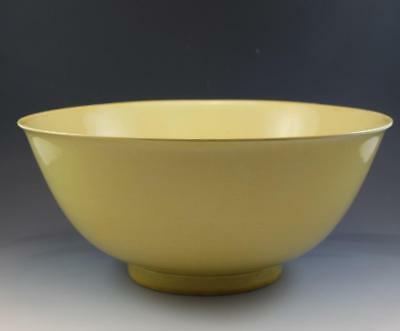 Mid Century Chinese Kang Hsi Porcelain Imperial Yellow Large Center Bowl