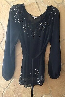 A Pea in the Pod Sheer Black, Gold Embelished Top, Size L