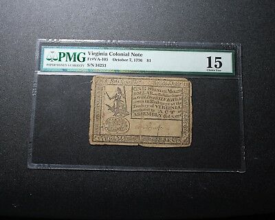 1776 Virginia $1 Colonial Note PMG 15