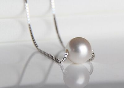 """18""""10mm natural south sea white pearl necklace pendant"""