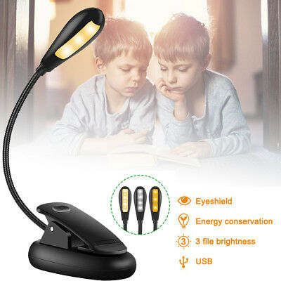 Rechargeable 7 LED Book Light Easy Clip on Reading Lights for Reading Eye-Care