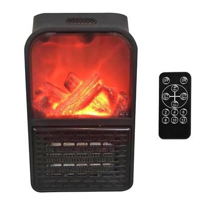 900W Black Wall Mount Electric Fireplace Flame Heater+Remote Office Home Warmer