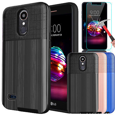 FOR LG K30/K10 2018/Premier Pro LTE Case Cover + Tempered Glass Screen  Protector