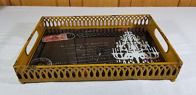Rustic Antique Vintage Style Metal Serving Tray Shabby Chic Chandalier stamp