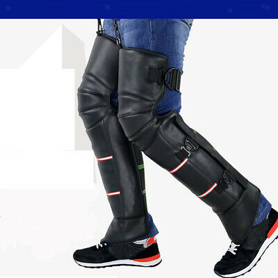 Black Motorcycle 70cm Leather Warm Knee Pad Leg Warmer Protector Adjustable