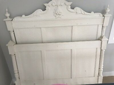 Antique French Bed Painted White Small Double