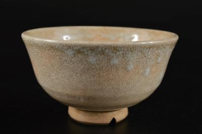 G1835: Japanese Old Hagi-ware White glaze TEA BOWL Green tea tool Tea Ceremony