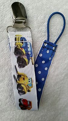 Baby Soother/Pacifier Holder/Metal Clip/Construction Vehicles/NEW