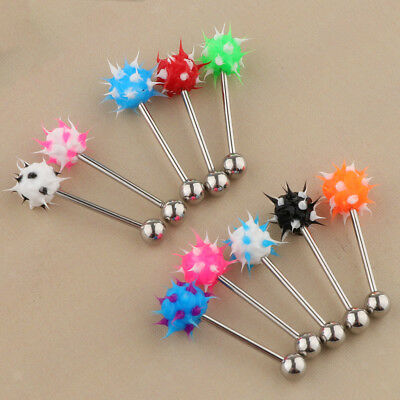 10Pcs Lip Tongue Bar Ring Straight Barbell Stainless Steel Silicone Ball 14G