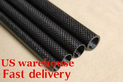 US OD 12mm x ID 8mm x 10mm x 1000mm 3K Carbon Fiber Tube Glossy/ (Roll Wrappe)