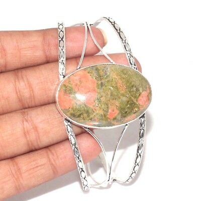 R2867  Unakite & 925 Sterling Silver Plated ADJUSTABLE Bangle  Jewellery