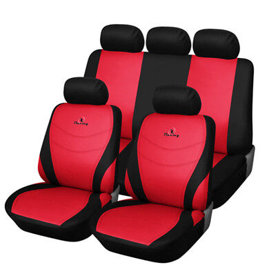 Car Seat Covers Full Set Car Accessories Seat Protectors Racing Embroidery Red