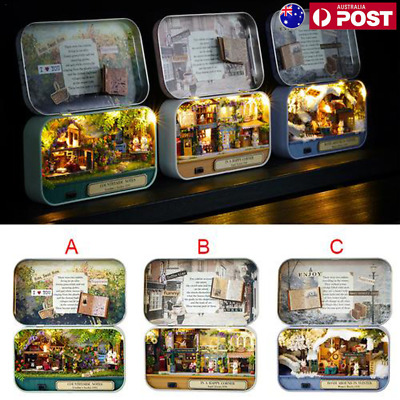 DIY Handcraft Miniature Project Kit LED Dolls House The Tin Box Xmas Gift Toy