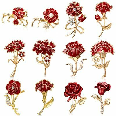 Mother's Day Crystal Red Flower Brooch Pin Carnation Womens Banquet Jewellery