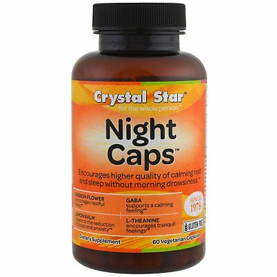 Crystal Star Night Caps 60 Veggie Caps Gluten-Free, GMP Quality Assured, NSF