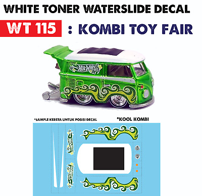 WT115 White Toner Waterslide Decal > KOMBI TOY FAIR> For Custom 1:64 Hot Wheels