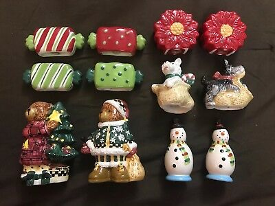 Lot Of 6 Sets Of Vintage Christmas Salt & Pepper Shakers